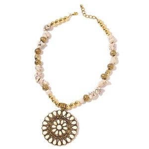Jewelry - White Howlite, Chroma Goldtone Necklace (25 in)